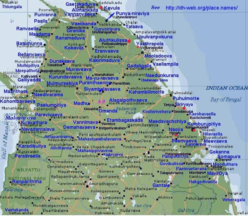 Map With Sinhala Names GokannaTrinco To AlimankadaElephant Pass